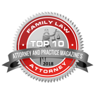 Family Law Top 10 Attorney, 2018 badge - Attorney and Practice Magazine
